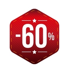 Sale sixty percent off banner red patch vector