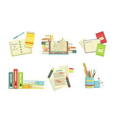 school supplies set copybook textbooks folders vector image
