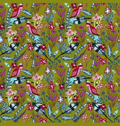 Seamless pattern with bird leaves and flowers vector