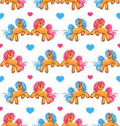 Seamless pattern with cute cartoon little horse 2 vector image