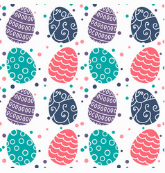Seamless pattern with easter eggs and dods design vector