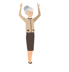 senior business woman standing with raised arms up vector image