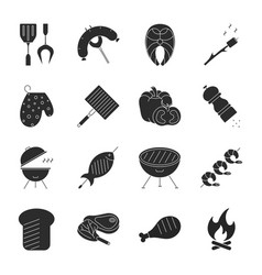Set barbecue related line icons includin vector