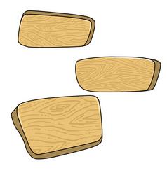 Set cartoon wooden boards design element vector