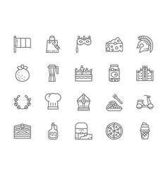 set italian culture line icons gladiator vector image