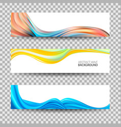 set of banners with color wavesacrylic wave vector image