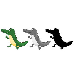 set of crocodile walking vector image