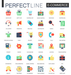 set of flat e-commerce icons internet vector image