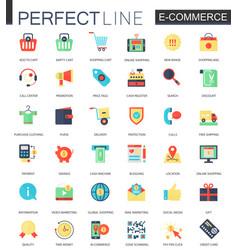 set of flat e-commerce icons internet vector image