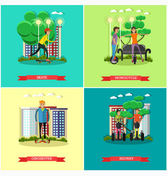 Set of modern transport concept posters in vector