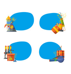 set of stickers with pyrotechnics vector image