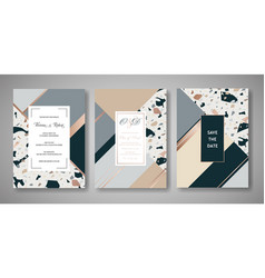 terrazzo wedding invitation card set abstract vector image