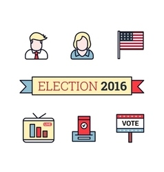 Thin line art icons set American election 2016 vector image