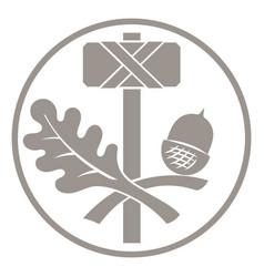 Thors hammer - mjolnir and oak leaf ornament vector