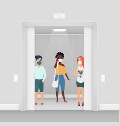 Three women in masks at elevator coronavirus vector