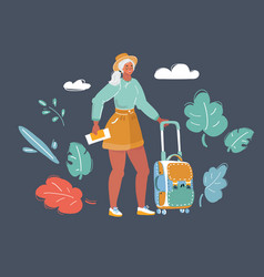 traveling woman with luggage in dark vector image