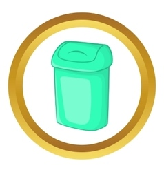 Turquoise trash can icon vector