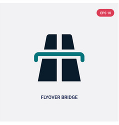 Two color flyover bridge icon from maps and flags vector