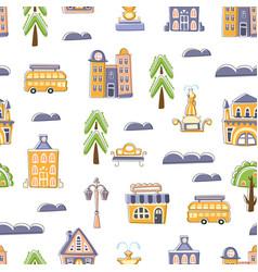 urban landscape seamless pattern cute hand drawn vector image
