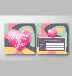 valentines day abstract greeting gift card vector image