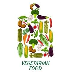Vegetable cutting board for vegetarian food design vector image