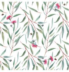 Watercolor australian floral pattern vector