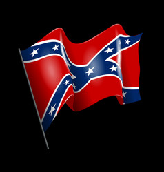 Waving confederate american flag isolated on black vector