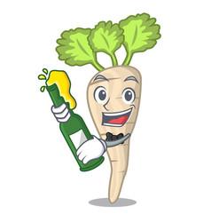 With beer fresh organic parsnip vegetable cartoon vector