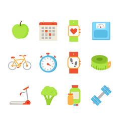 Wristwatch and apple fruit set vector