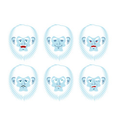 yeti emoji set bigfoot sad and angry face vector image