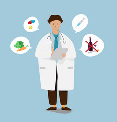 young doctor with holding check up report document vector image