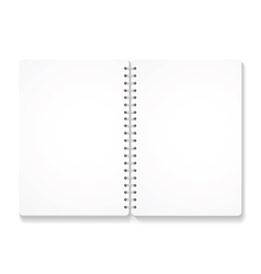 blank realistic spiral notebook with opened pages vector image