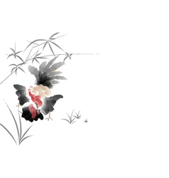 Chicken sumi e color painting vector