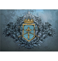 crest with floral vector image vector image