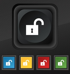 open lock icon symbol Set of five colorful stylish vector image