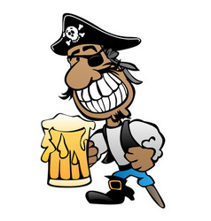 pirate cartoon character with peg leg vector image vector image