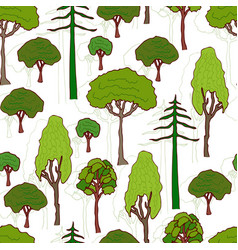 Trees pattern seamless pattern of green trees vector