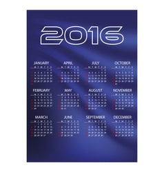 2016 simple business blue waves wall calendar vector image vector image