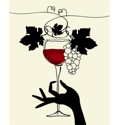 a hand holding a wine glass with grape vector image vector image