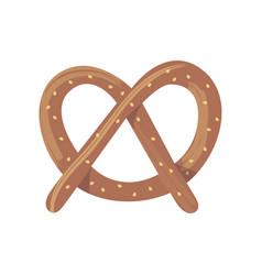 fresh baked brown pretzel cartoon flat food vector image