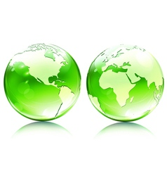 glossy earth globes vector image vector image