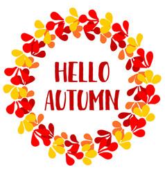 Hello autumn wreath card vector