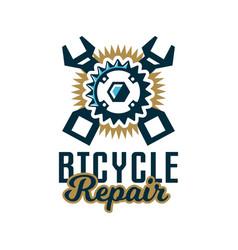logo repair bicycles a bicycle sprocket and vector image