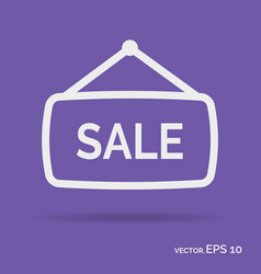 sale banner outline icon white color vector image