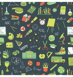 Seamless pattern with hand drawn school elements vector image