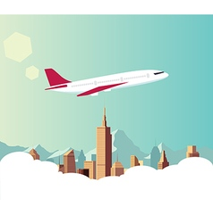 Airplane with city background vector image