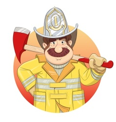 Fireman in uniform with ax vector image vector image