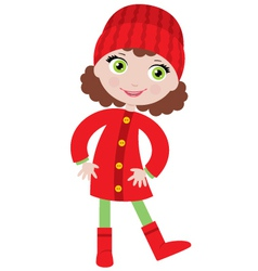 little girl in a coat vector image vector image