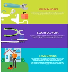 Sanitary electrical work lawn mowing vector image vector image