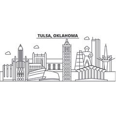 Tulsa oklahoma architecture line skyline vector